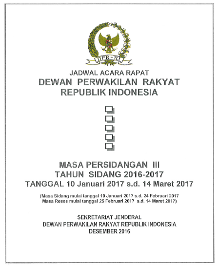 Jadwal Acara DPR Masa Persidangan III 10Jan17