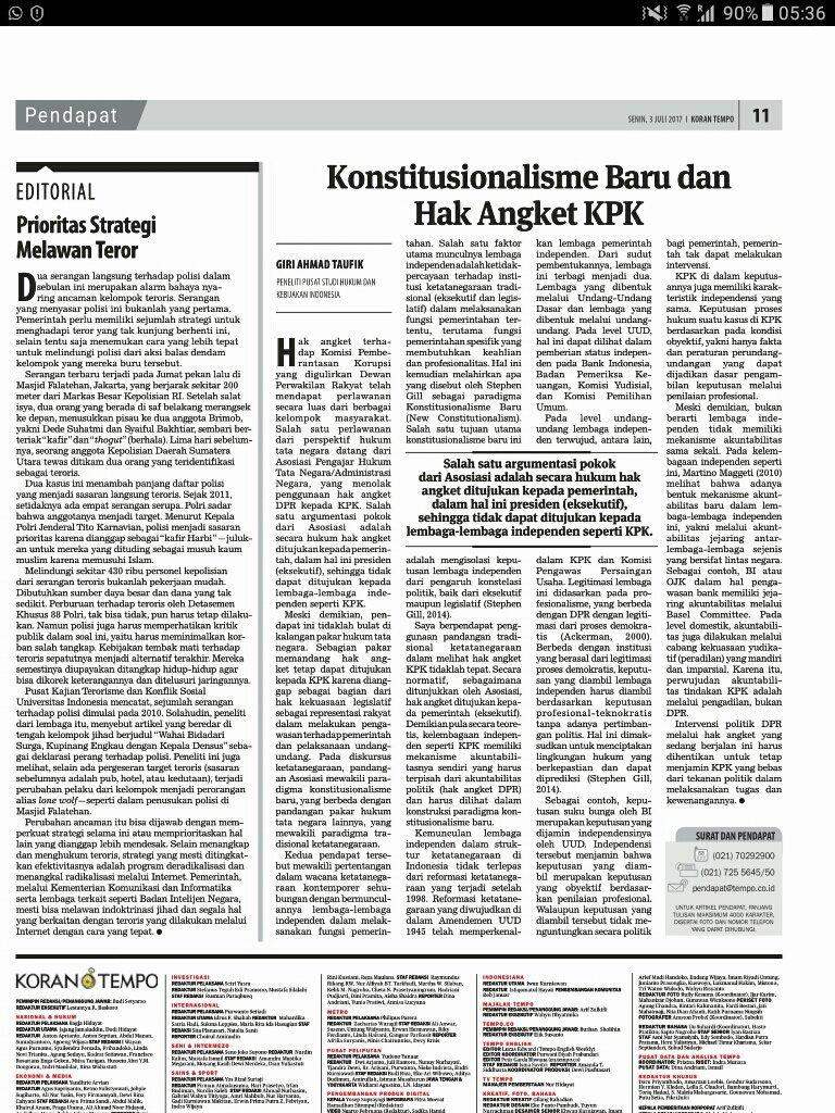 2017-07-03-Koran Tempo-GAT-Konstitusionalisme Baru dan Hak Angket KPK